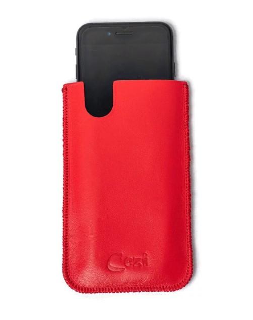 Husa telefon universala, din piele rosie